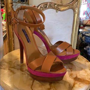 Designer Ralph Lauren 2 tone platform heels